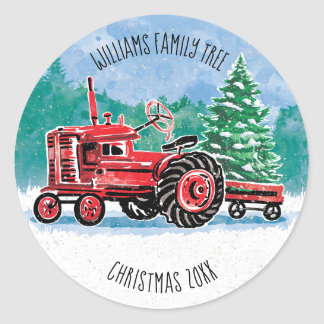 Red VintageTractor Christmas Tree Add Name Classic Round Sticker