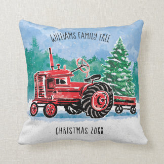 Red VintageTractor Christmas Tree Add Name Throw Pillow