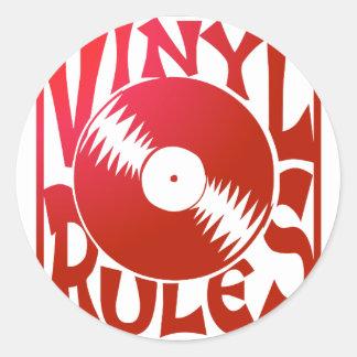 Red Vinyl Rules, ok? Classic Round Sticker