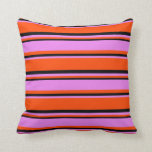 [ Thumbnail: Red, Violet & Black Lined Pattern Throw Pillow ]