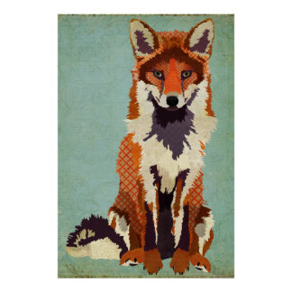 Red & Violet Fox Art Poster