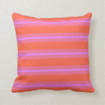[ Thumbnail: Red & Violet Lined/Striped Pattern Throw Pillow ]