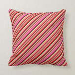 [ Thumbnail: Red, Violet, Orange, White & Black Colored Lines Throw Pillow ]