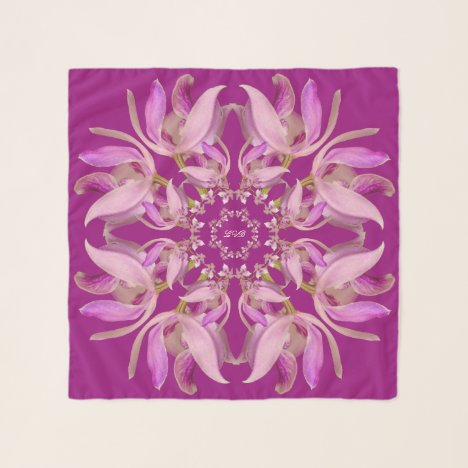 Red Violet & Pink Orchids Square Chiffon Scarf