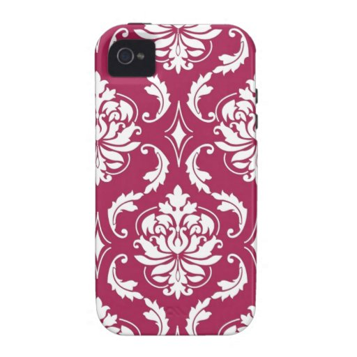 Red-Violet White Classic Damask Pattern iPhone 4 Case