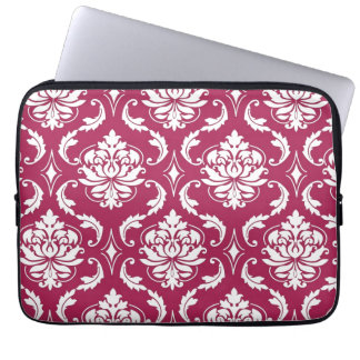 Red-Violet White Classic Damask Pattern Computer Sleeve