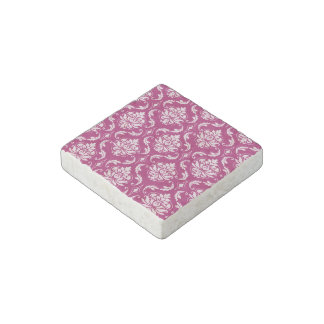 Red-Violet White Classic Damask Pattern Stone Magnet