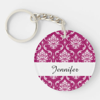 Red-Violet White Classic Damask Pattern Double-Sided Round Acrylic Keychain