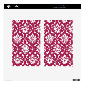 Red-Violet White Classic Damask Pattern Kindle Fire Decal