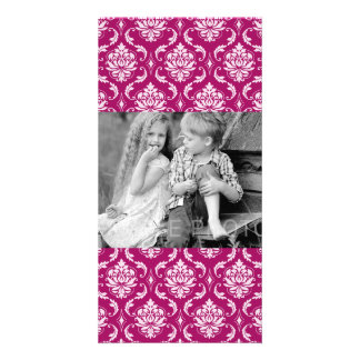 Red-Violet White Classic Damask Pattern Custom Photo Card
