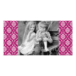 Red-Violet White Classic Damask Pattern Photo Greeting Card