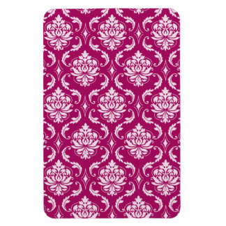 Red-Violet White Classic Damask Pattern Rectangle Magnets