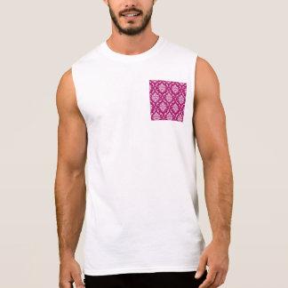 Red-Violet White Classic Damask Pattern Sleeveless Shirt