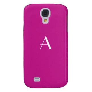 Red Violet with White Monogram Galaxy S4 Cover