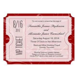 Red VIP Wedding Ticket Invitations