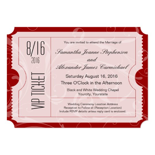 Red VIP Wedding Ticket Invitations – Vip Ticket Invitations