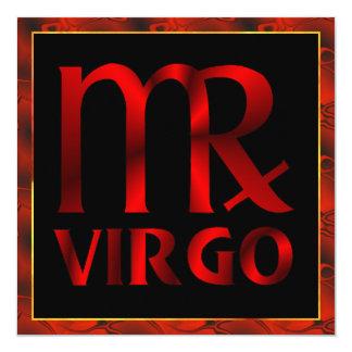 "Red Virgo Horoscope Symbol 5.25"" Square Invitation Card"