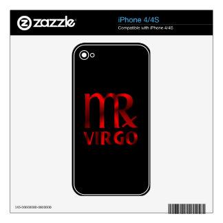 Red Virgo Horoscope Symbol iPhone 4 Decals
