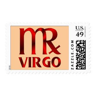 Red Virgo Horoscope Symbol Postage Stamp