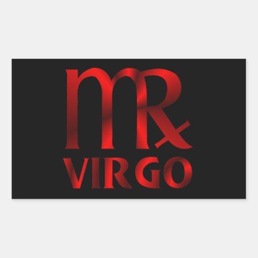 Red Virgo Horoscope Symbol Rectangular Sticker
