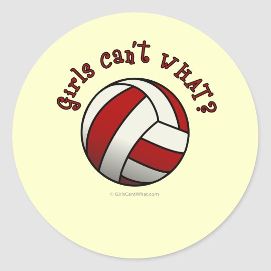 Red Volleyball Classic Round Sticker