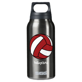 Red Volleyball (customizable) Insulated Water Bottle