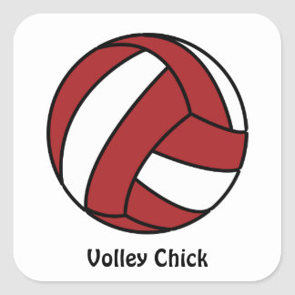 Red Volleyball (customizable) Square Sticker