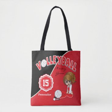 Beach Themed Red Volleyball Diva Girl Tote Bag