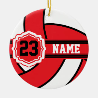 Red Volleyball | DIY Name and Number Double-Sided Ceramic Round Christmas Ornament