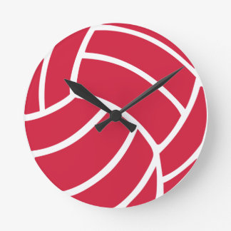 Red volleyball icon round clock