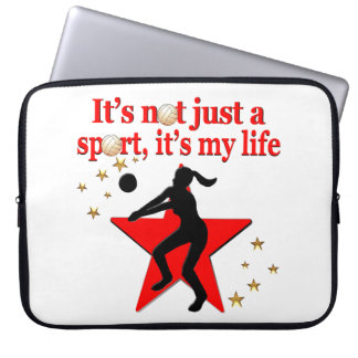 RED VOLLEYBALL IS MY LIFE DESIGN LAPTOP SLEEVE