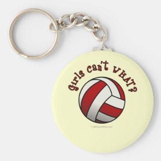 Red Volleyball Basic Round Button Keychain
