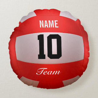 Red Volleyball Round Pillow