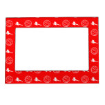 Red Volleyball Pattern Magnetic Picture Frame