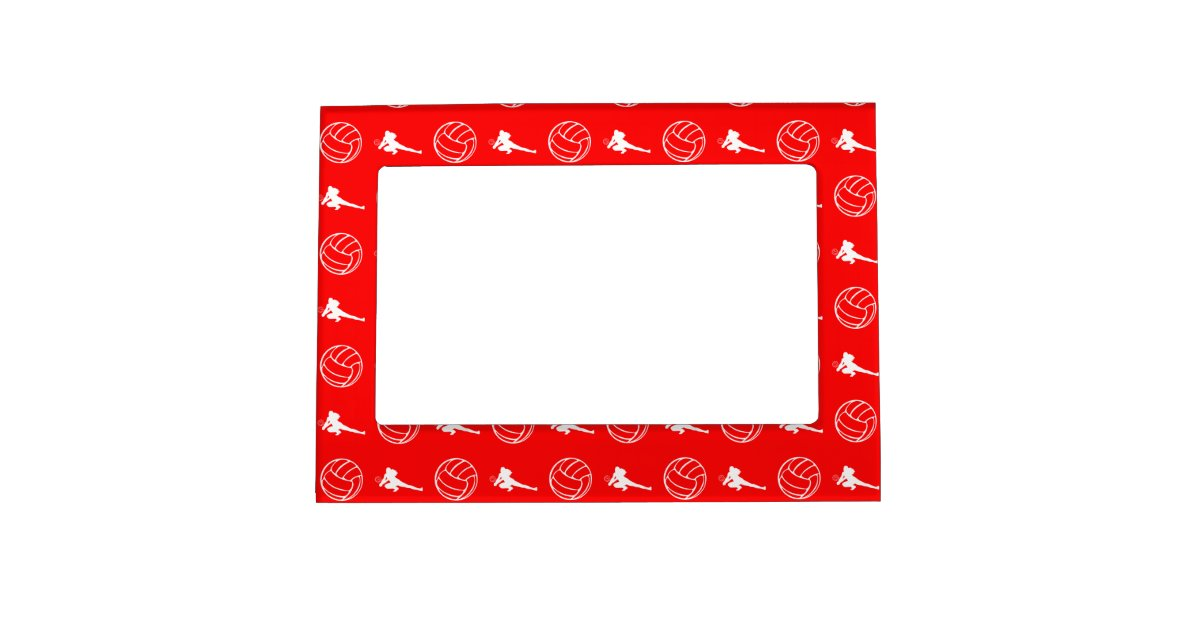 red volleyball pattern magnetic picture frame zazzle