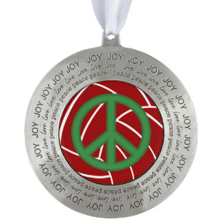 Red Volleyball Peace Sign Holiday Ornament