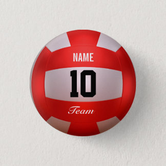 Red Volleyball Pinback Button