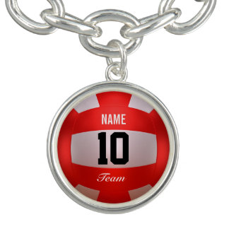 Red Volleyball Charm Bracelet