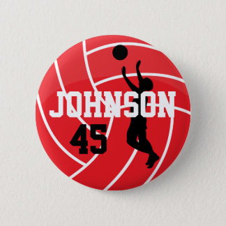 Red Volleyball with Silhouette Player Button