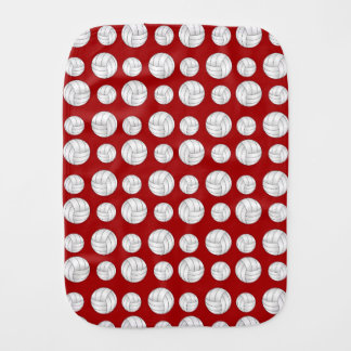 Red volleyballs pattern burp cloth