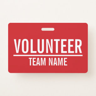 Red Volunteer Badge with Custom Team Name