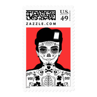 Red Voodoo Girl Day of the Dead Graphic Art Stamp