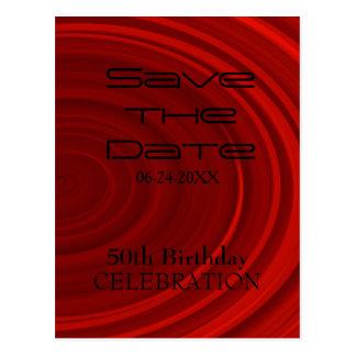Red Vortex 50th Birthday Save the date 2 Postcard