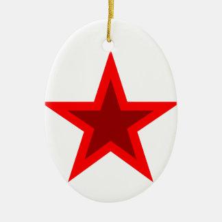 Red W Star Ceramic Ornament