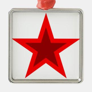 Red W Star Metal Ornament