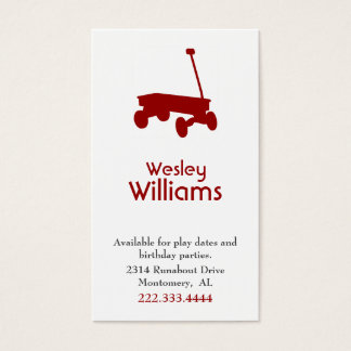 Red Wagon Children Play Date Card