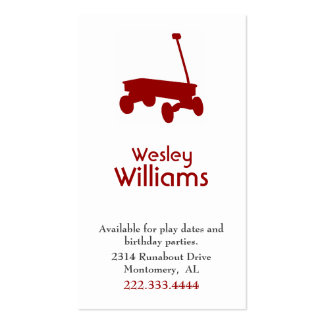 Red Wagon Children Play Date Card Business Card