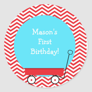 Red Wagon Favor Stickers