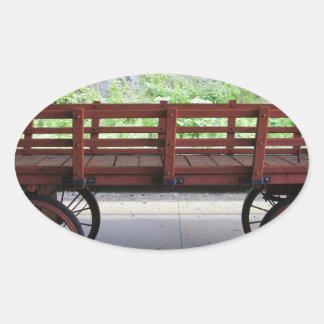 Red Wagon Oval Sticker