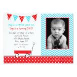 "Red Wagon Photo Birthday Party Invitations 5"" X 7"" Invitation Card"